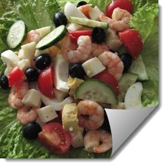 Рецепт салата из овощей с креветками