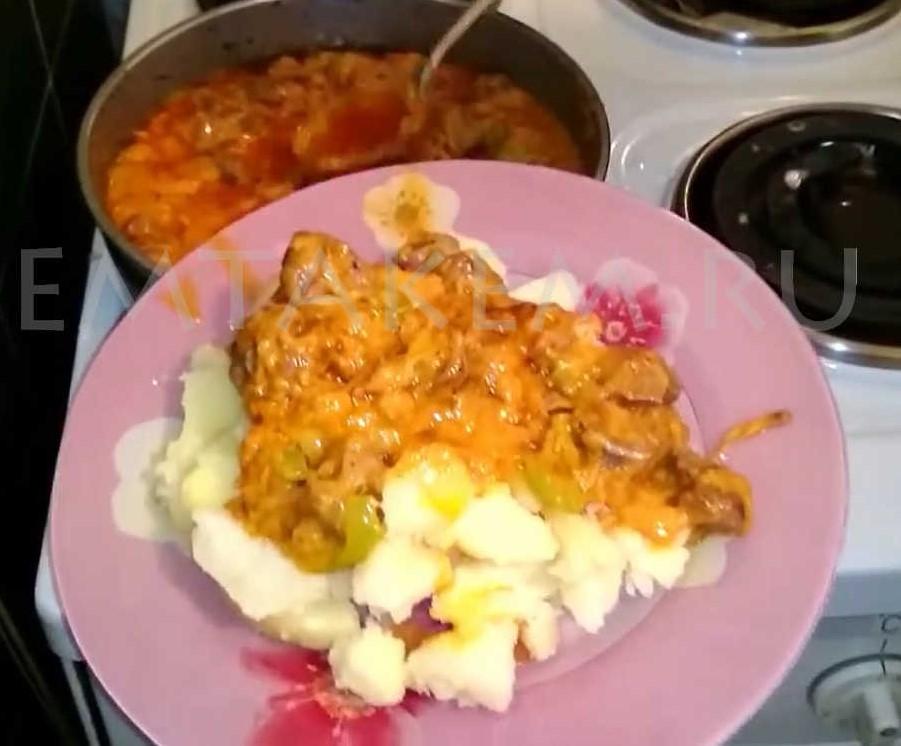 Куриные желудочки на сковороде
